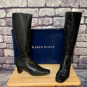 Karen Scott Black Leather Boots Size 7 1/2 Wide